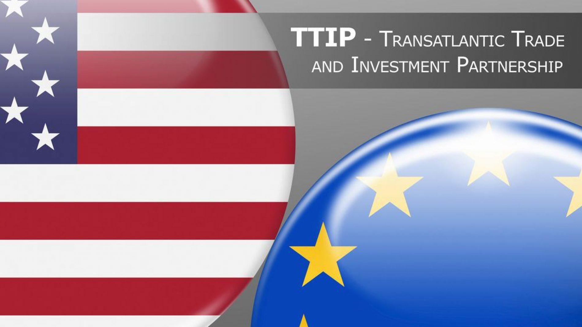 Eu USA flags representing the trade agreement
