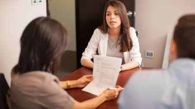 Young woman in a job interview