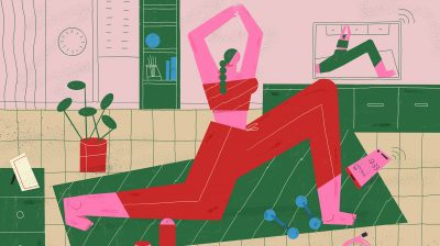 Illustration of a person beside some dumbells doing a lunge on a yoga mat while watching a workout video on the television - yoga and pilates