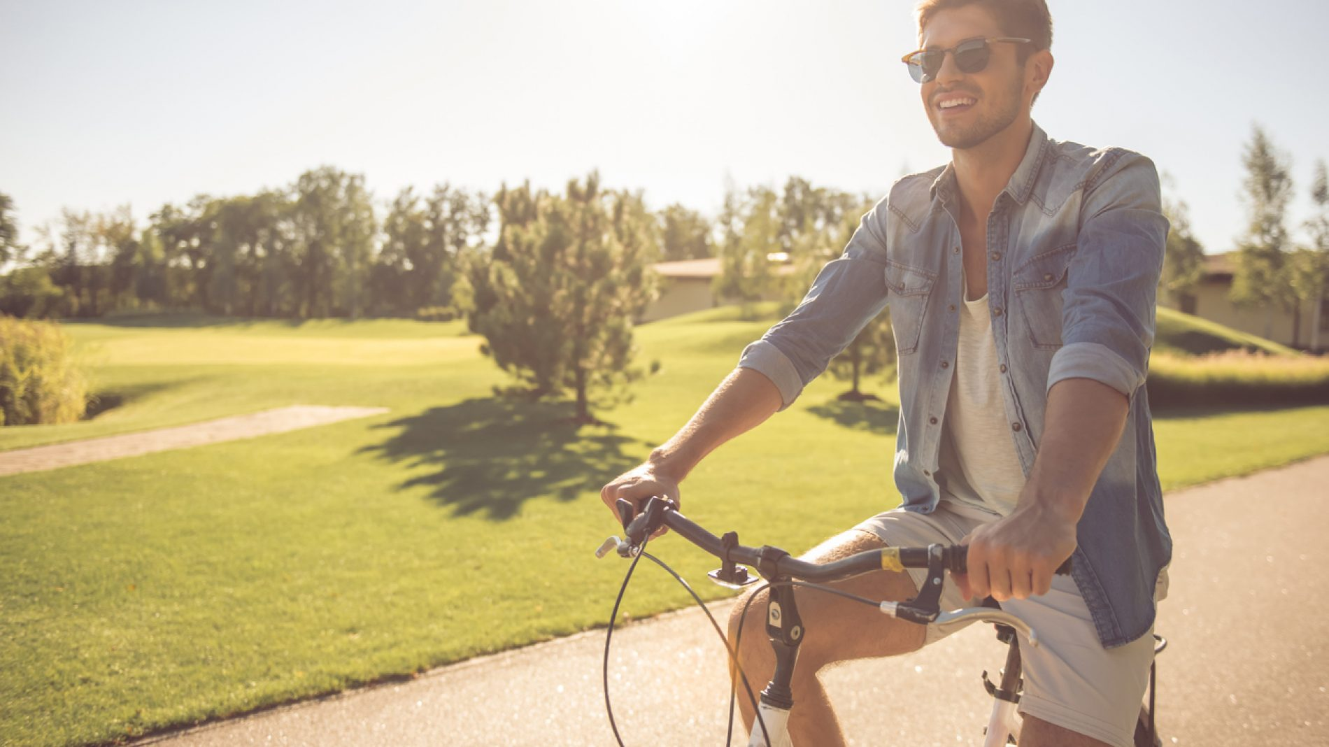 Young man on bicycle